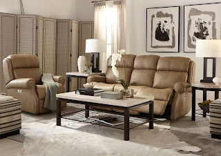 beige reclining sofa and chair in living room