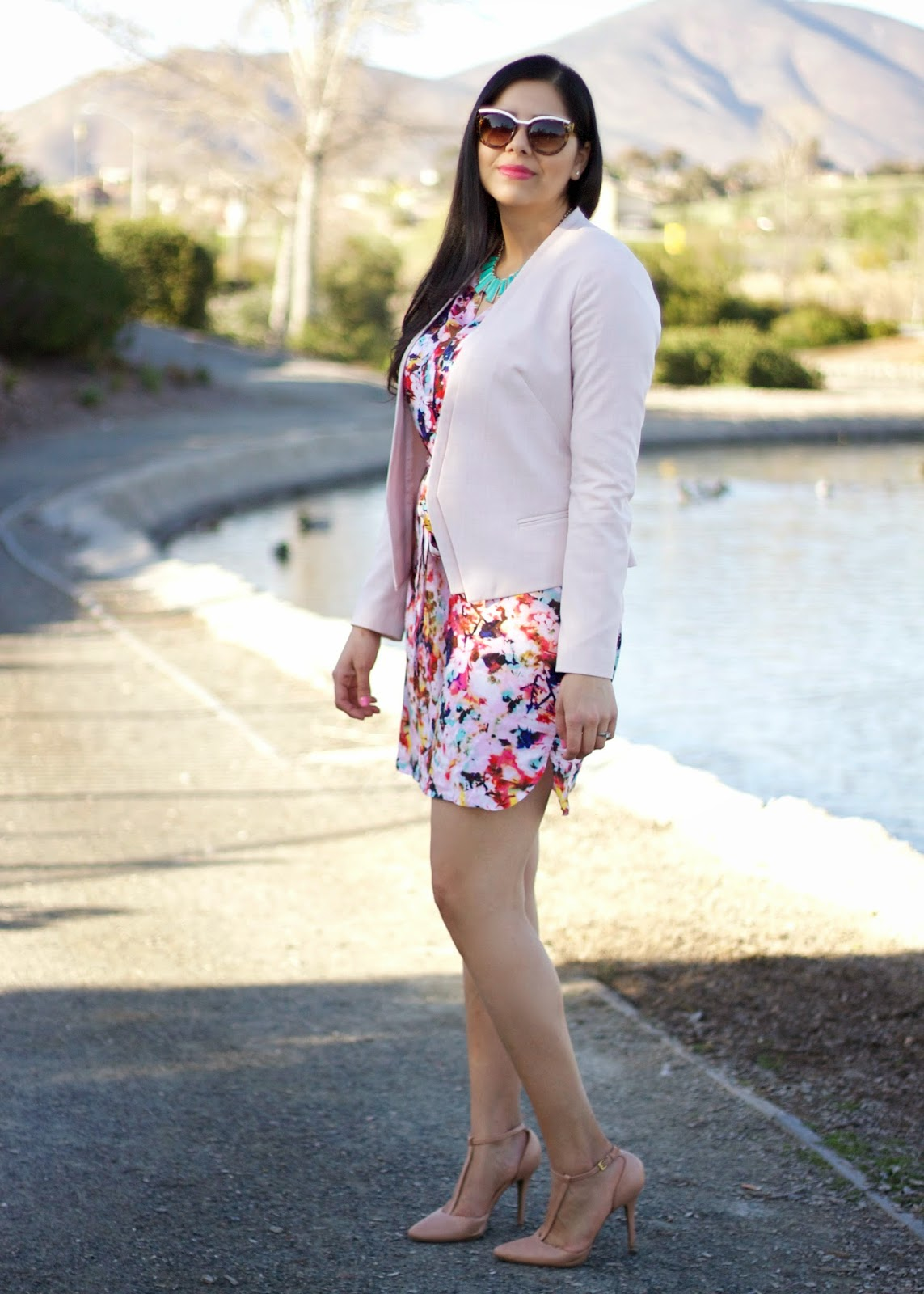 What to wear this spring, spring 2015 fashion, spring fashion, floral dress and pink blazer, nude t strap heels