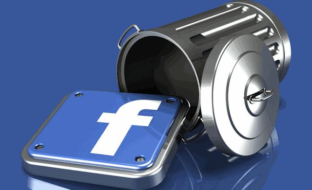 Facebook icona e cestino