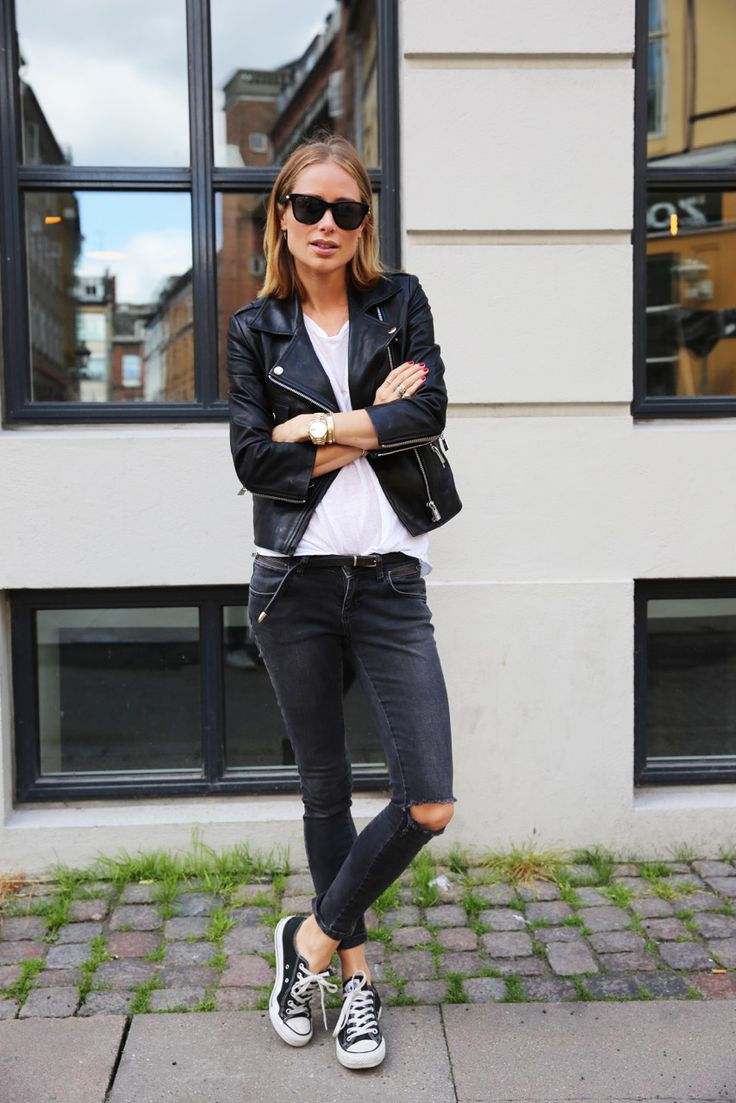 Anine Bing - leather jacket, grey jeans, sneakers