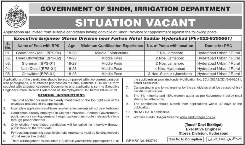 Latest Irrigation Department Hyderabad Jobs 2019