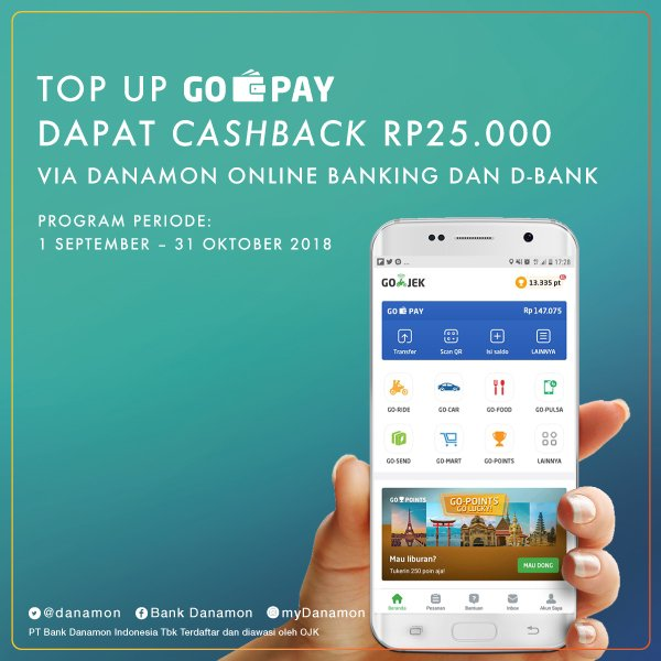 Bank Danamon - Promo Cashback 25 Ribu TopUp GO-PAY Via Danamon Online & D-Bank