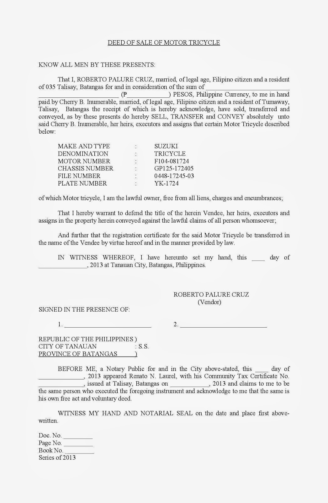 deed of sale of motor vehicle gse bookbinder co