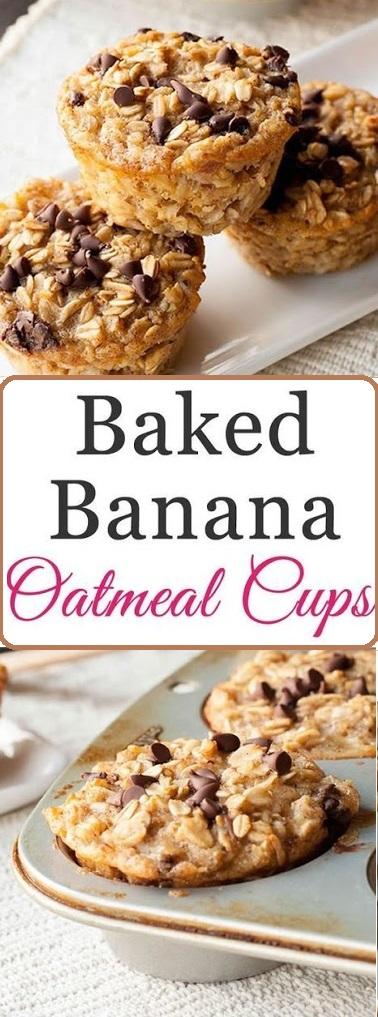 Baked Banana Oatmeal Cups #dessert #baked