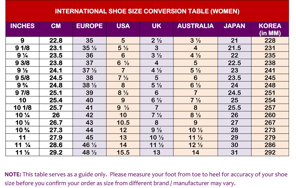 Mens To Womens Shoe Size Conversion Chart Skechers