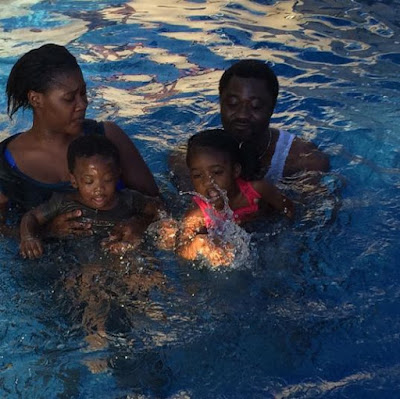 Nigeria Actress Mercy Johnson share her pictures with the kids and husband at the pool
