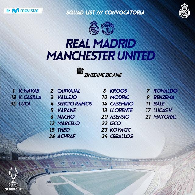 Piala Super Eropa Madrid vs MU: Ronaldo Masuk Daftar Pemain
