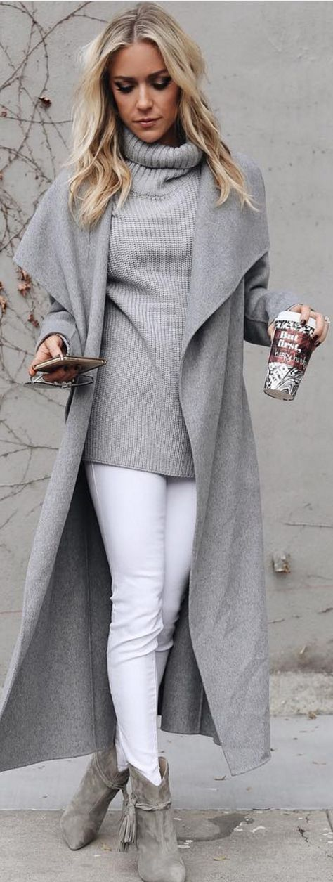 white and grey trends / long coat + knit sweater + white pants + boots