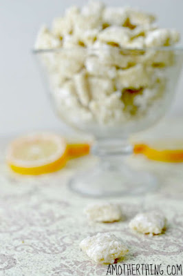 bowl of lemon and vanilla flavored puppy chow
