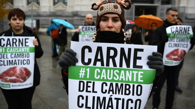 Protestan en Madrid contra uso de carne y el cambio climático