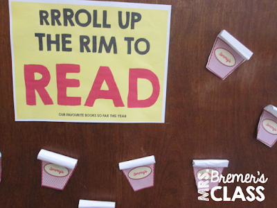 Roll Up the Rim...to Read! This Tim Horton's themed display shows what books students are reading.