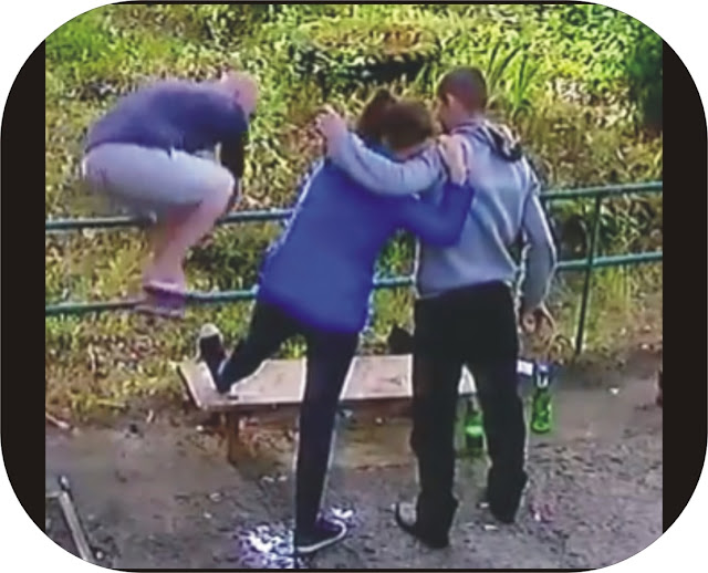 Drunk woman begs her drunk friends to breake her leg