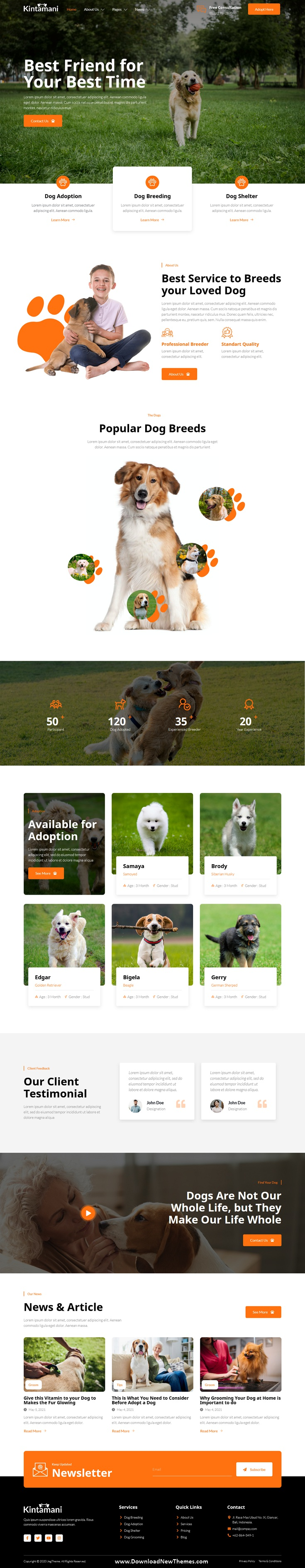 Dog Breeder & Adoption Elementor Template Kit