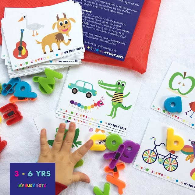 colourful cards with 3 images on each one beginning with the same letter and magnetic lowercase letters. image copyright My busy Bots from Etsy