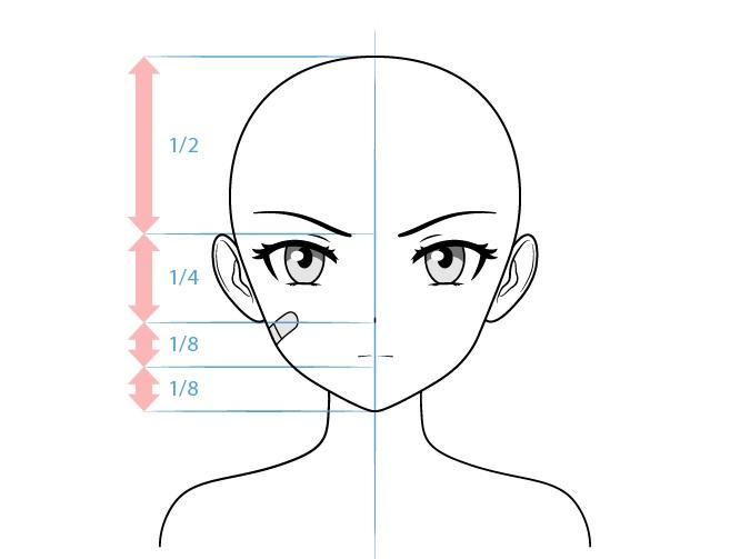 Anime gambar wajah karakter wanita tangguh
