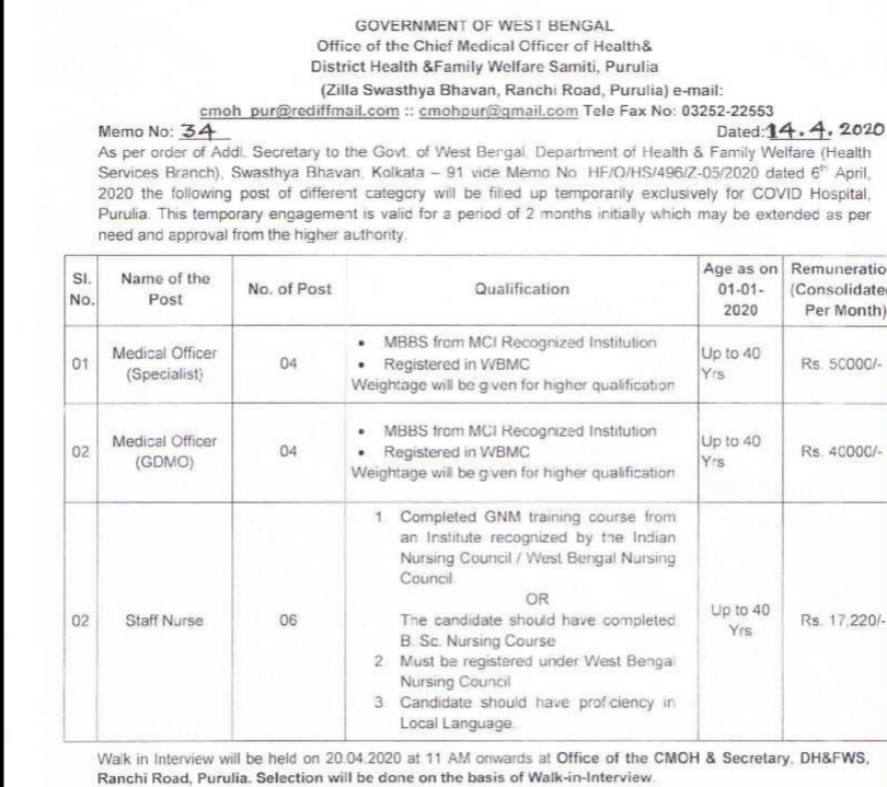 Staff Nurse & Medical Officer Under District Health & Family Welfare Samiti, Purulia Walk-In Interview,Jobs, Jobs In West Bengal, jobs in Purulia, District Health & Family Welfare Samiti Recruitment,
