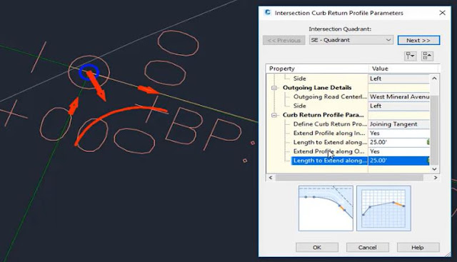 Intersection curb return profile parameters in Autodesk Civil 3D