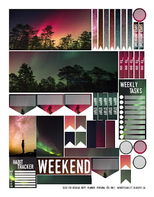A one-sheet set of planner stickers adorned with images of the Northern Lights. The primary focus rests on two long, thick bars of stickers that show the lights rising above the silhouetted tops of a forest of coniferous trees.