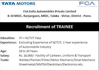 FIAT India Automobiles Pvt Ltd Recruitment For ITI Females Candidates For Apprenticeship, Temporary and Trainee Positions