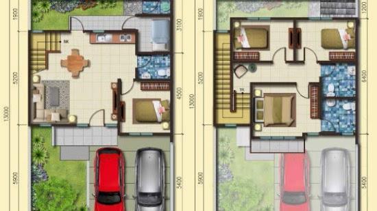 Rumah Minimalis 2 Lantai Ukuran 9x12  lingkar warna denah rumah minimalis ukuran 8x13 meter 5