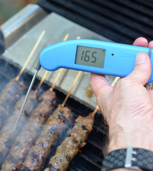 Using a thermapen to check my gyros for proper cooking
