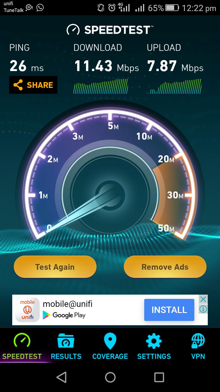 speed test unfi mobile