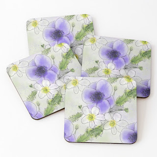 4 Purple Anemone Patterned Coasters