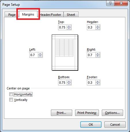 cara mengatur margin microsoft excel