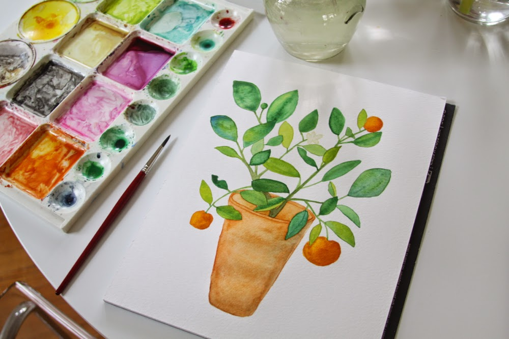 painting table orange tree