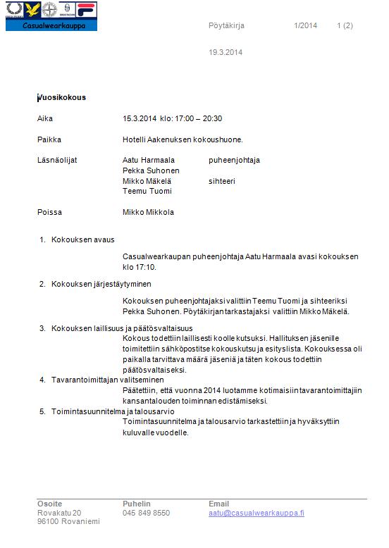 hallituksen järjestäytyminen esityslista