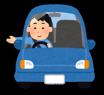 車の窓から手を出す人のイラスト