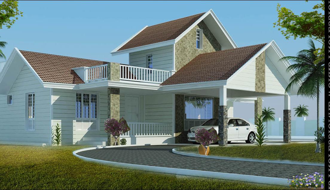 Simple colonial single storey Villa exterior design
