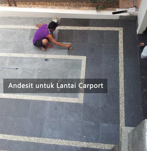 pemasangan batu andesit untuk lantai carport