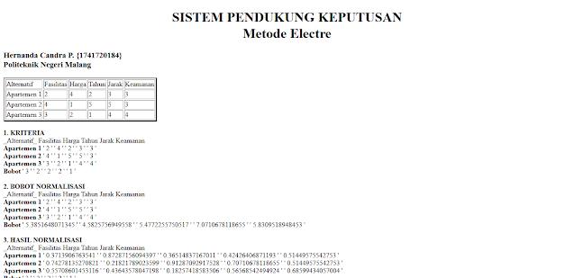 Sistem Pendukung Keputusan Metode Electre Sederhana
