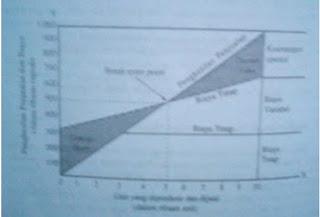 Garis biaya tetap digambarkan secara horizontal sejajar dengan sumbu X