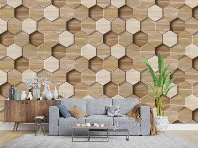 Wallpaper Dinding Ruang Tamu 3D Terbaru