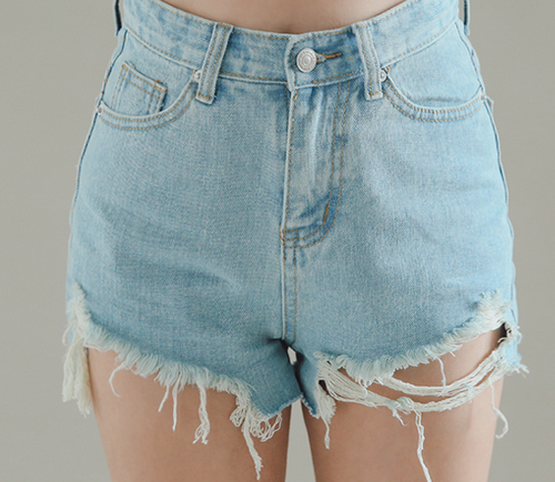 Pre-Damaged Denim Mini Shorts