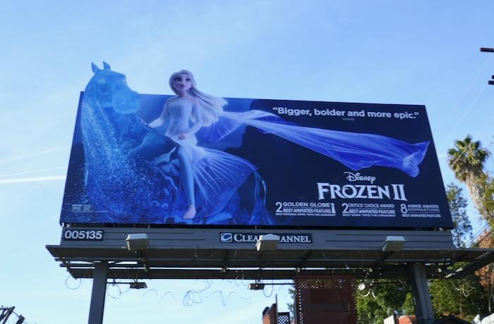 Frozen II Golden Globe nominee billboard