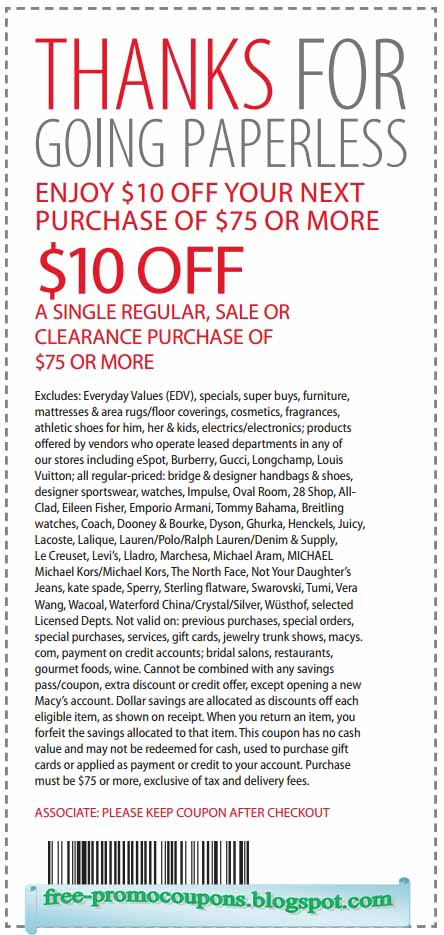 Macy's coupons 2018 in store