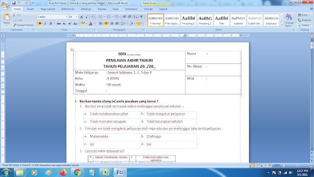 Soal Ukk Tema 6 Kelas 2 Dan Kunci Jawaban Kurikulum 2013