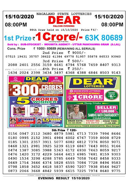 Lottery Sambad 15-10-2020, Lottery Sambad 8 pm results, Nagaland Lottery Results, Lottery Sambad Today Results Live, Night results