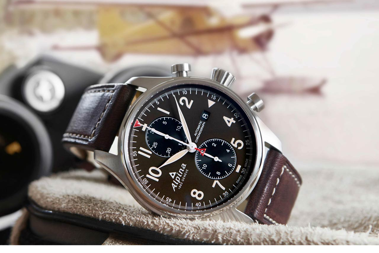 alpina startimer pilot automatic chronograph time and. Black Bedroom Furniture Sets. Home Design Ideas