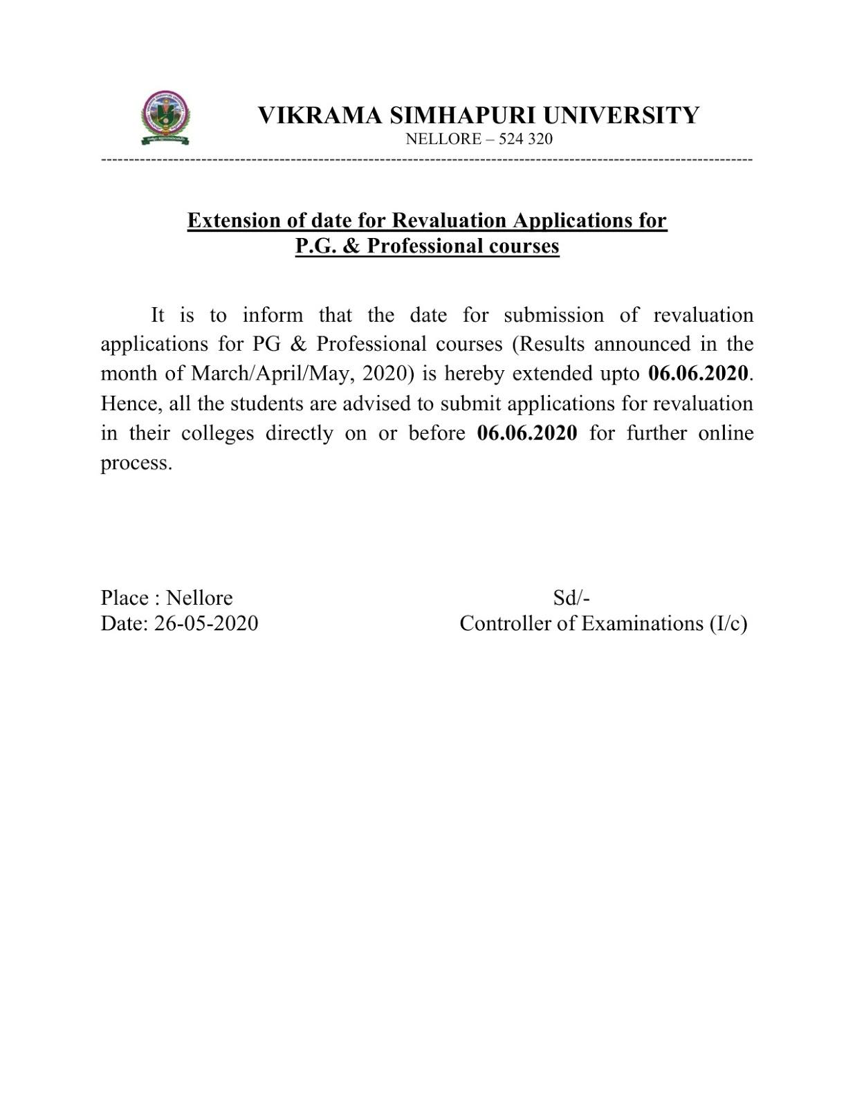 Vikrama Simhapuri University PG & Prof courses Rev Applications Date Extended
