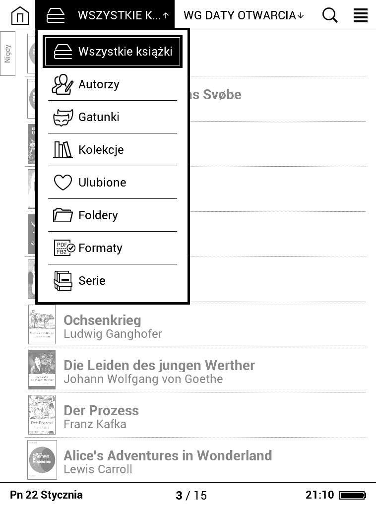 Biblioteka wPocketBook Basic Lux - menu grupowania e-booków