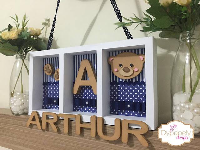 quadro maternidade, quadro para porta de maternidade, porta maternidade, quadro 3d, shadow box, quadro de ursinho, quadro azul marinho e branco, quadro de urso azul, quadro maternidade urso