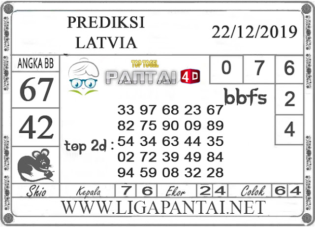 PREDIKSI TOGEL LATVIA PANTAI4D 22 DESEMBER 2019