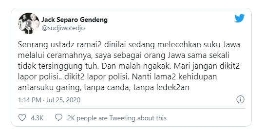 Ceramah Ustadz Tengku Dituding Lecehkan Suku Jawa, Sudjiwo Tedjo: Saya Orang Jawa Tidak Tersinggung Tuh, Malah Ngakak, Jangan Dikit-dikit Lapor Polisi
