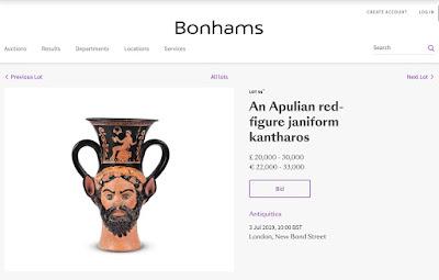 O οίκος Bonhams απέσυρε από δημοπρασία κλεμμένο αρχαιοελληνικό αμφορέα