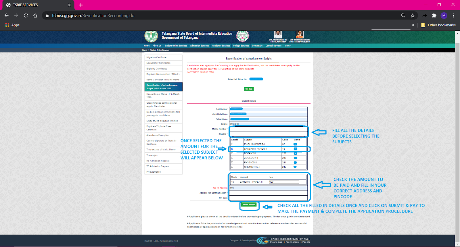 Fee Payment and Online Application Form Filling Flowchart