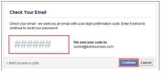 six digit confirmation code for facebook hack